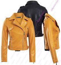 Womens Mustard Faux Leather Biker Jacket PU coat Size 8 10 12 14 Black