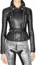 NOORA New Women Genuine Lambskin Leather Biker Bomber Jacket Modern Styles QD172