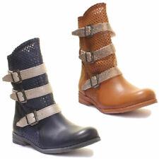 Felmini femme boucle dorée cuir biker boot navy tan taille uk 3 - 8