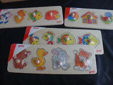 Bunte schmale Holz-Puzzle für Kinder mit 4 Teilen und Greifknöpfen