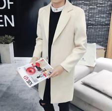 Korean Mens 3 Buttons Wool Blend Trench Long Coat Lapel Plus SzParka Warm Coats