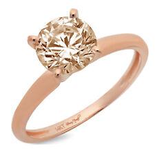 1.5ct Round Designer Statement Bridal Classic Champagne Stone Ring 14k Rose Gold