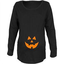 Halloween Belly Jack-O-Lantern Orange Glow Maternity Soft Long Sleeve T-Shirt