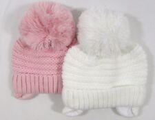 Baby bambini ragazze a Maglia Cappello Invernale Bobble POM POM Orecchie Flap Rosa Lavorato A Maglia Foderato 312