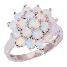NEU Edler 925 Silber-Ring mit weißen FeuerOpal Perlen Gr.7/17, 8/18, 9/19, 10/20