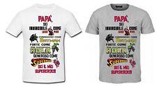 T-shirt Maglia Uomo PAPA' SUPEREROE Batman Superman Hulk Ironman FESTA DEL PAPA'