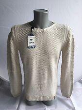 Herren Pullover Oberteil Strickpulli beige weiß Gr. S M L XL von KDWN 50% Wolle
