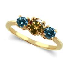 14 Yellow Gold 2 Carat  Champagne and Blue Diamonds Three Stone Ring