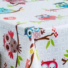 GREY DAMASK OWLS PRINT MULTI COLOURED CHILDREN PVC VINYL TABLE CLOTH VINTAGE RED