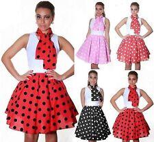 LADIES BLACK,RED,PINK POLKA DOT ROCK N ROLL POODLE SKIRT 50's FANCY DRESS 8-14