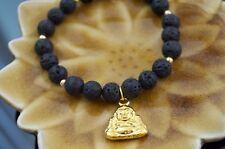 "Gold Love Buddha Black Lava Healing Beaded Bracelet Spiritual Protection sz 7.5"""