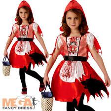Dead Riding Hood Girls Halloween Fancy Dress Fairytale Horror Childs Kid Costume