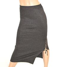 GONNA donna LUNGA stretch GRIGIO elasticizzata laccetti SEXY ong skirt falda 15