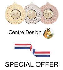 Offre spéciale 10 x HORSE/EQUESTRIAN Métal 50 mm médailles & Ruban