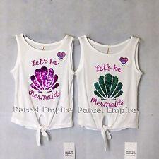 The Amazing BRUSH SEQUIN Vest Reversible LET'S BE MERMAIDS Shell Girls Top Tee