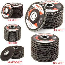 "10 Pcs Professional Flap Sanding Discs 115mm 4.5"" 40 60 80 120 Grit Angle Zircon"