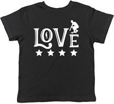 Love Skateboarding Boys Girls Chldrens Kids Short Sleeve T-Shirt Tee