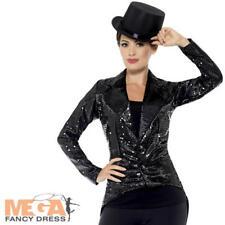 Lentejuelas Negro Frac Damas Vestido Elaborado Disfraz para mujer Cabaret corista Blazer