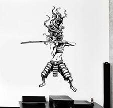 Vinyl Wall Decal Samurai Woman Asian Warrior Japanese Stickers (ig4587)