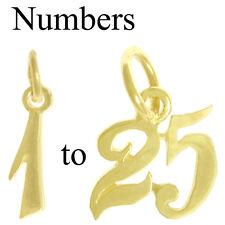 14K Number Numeral Pendants #'s 1-25, Anniversary,Birthdays,$30-$70, #245