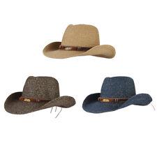 Men Women Soft Straw Cowboy Western Panama Wide Brim Fedora Trilby Hats Cap