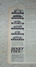 1961 - Dinky Toys dump truck jeep rolls royce rambler bentley car Meccano OLD AD