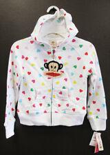 New PAUL FRANK Girl's Cotton Hoodie Sweatshirts, Size 4, 6, 6X Multi-Hearts