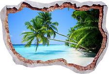 Hermosa Playa Palmera Mar Vista De Pared Efecto 3D se estrelló Pegatina cartel 434