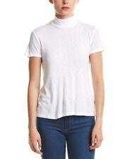 Splendid Women's White Open Back Fitted Turtleneck Short Sleeve T-Shirt