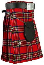 Royal Stewart Scottish Dress Kilt 5 Yard 13 oz Scottish Highland Sporran Pin New