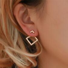 Women Minimalist Triangle Earrings Hollow Square Ear Studs Geometric Earring Z