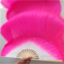 1 Pair Belly Dance Bamboo Long Silk Fans Veils 7 Colors Hand Made Silk Fan 1.8m