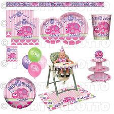 1st/Primer Cumpleaños Bebé Niña Fiesta provisiones Ladybug Vajilla & Decoraciones