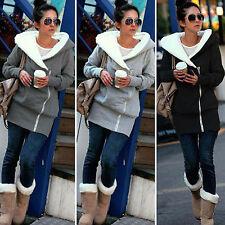 Plus Size Women's Long Sleeve Hooded Coat Warm Zip Up Jacket Parka Slim Outwear