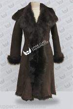 Marrón 3/4 capucha de mujer Toscana Chaqueta de piel de oveja Gabardina