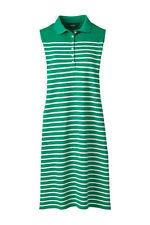 Lands End Women's Sleeveless Polo Dress Fresh Emerald Stripe New