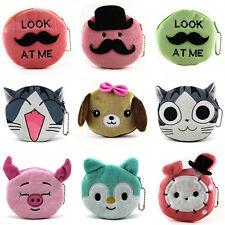Cartoon Animal Girls Kids Portable Zipper Coin Purse Wallets Case Plush Bag