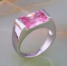 18K White Gold Plated Pink Cubic Zirconia Fashion Women Geometric Ring UK