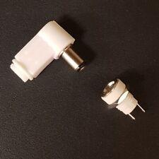 2.5MM x 5.5MM L SHAPE DC PLUG & PANEL MOUNT SOCKET DC JACKS DIY - WHITE
