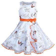 fefca8a6fd479 Sunny Fashion Robe Fille Papillon Orange Mariage Partie Anniversaire