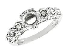 0.3Ct Round Diamond Semi-Mount Antique Milgrain Engagement Ring 18K Gold