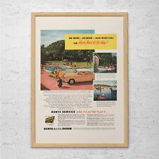 VINTAGE TRAVEL AD  - Retro Car Rental Ad - Classic Car Ad Mid-Century Poster Gar