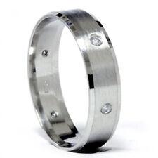 Mens 950 Platinum Brushed Diamond Wedding Band Ring