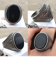 Handgefertigt Massiv 925 Sterling Silber Schwarzer Achat Stein Herren Ring