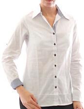 blusa de mujer camisa manga larga Camiseta Túnica Negocios Algodón Blanco 273