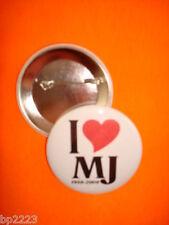 "I LOVE (Heart) MJ BUTTON Badge 2-1/4""  w/Pinback Michael Jackson Tribute, NEW"