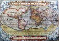 195441 MAP ANTIQUE WORLD GLOBE CONTINENT OCEAN ART Wall Print Poster CA