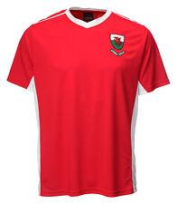 WELSH 'BALE' RED V NECK FOOTBALL SHIRT Wales Cymru T-Shirt Cooldry