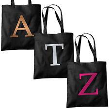 Single Letter METALLIC Printed Black Tote Bag - Alphabet A-Z Initial Shopper