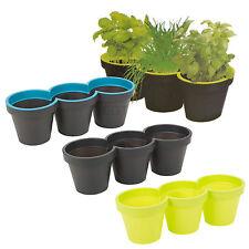 3 Section Plastic Plant Flower Pot Holder Herb Garden Home Pots Multiple Sets